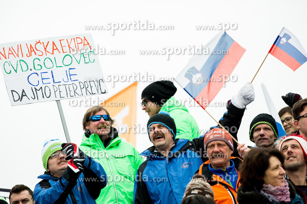 Supporters of Peter Prevc of Slovenia during the Ski Flying Hill Individual Competition at Day 1 of FIS Ski Jumping World Cup Final 2016, on March 17, 2016 in Planica, Slovenia. Photo by Vid Ponikvar / Sportida