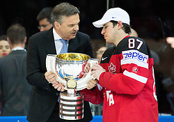 Rene Fasel, president of IIHF and Sidney Crosby of Canada with a trophy  after Canada winning during Ice Hockey match between Canada and Russia at Final game of 2015 IIHF World Championship and became World Champions 2015, on May 17, 2015 in O2 Arena, Prague, Czech Republic. Photo by Vid Ponikvar / Sportida