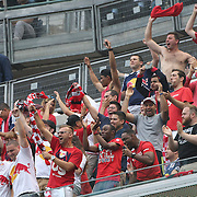 New York Red Bulls fans celebrate a goal during the New York City FC Vs New York Red Bulls, MSL regular season football match at Yankee Stadium, The Bronx, New York,  USA. 28th June 2015. Photo Tim Clayton