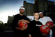 The And1 Mixe Tape players in Melbourne for the And1 3 on 3 challenge. Players 50, High Octane and The Professor get ready to take on the local streetball players on Sunday. Pic Kelly Barnes 15/01/03 Contact for the players: John Elliott - 9495 0100 or 0418 949 618.
