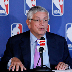 April 16, 2012; New Orleans, LA, USA; NBA commissioner David Stern at press conference announcing ownership to Tom Benson and the awarding of the 2014 All Star game to the city of New Orleans at the New Orleans Arena.   Mandatory Credit: Derick E. Hingle-US PRESSWIRE