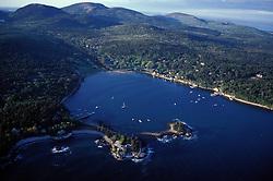 Acadia N.P., ME. Aerial. Seal Harbor. Mt. Desert Island. Cadillac Mtn.