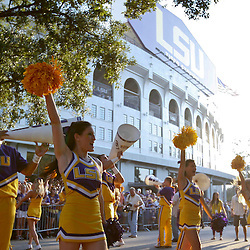 November 3, 2012; Baton Rouge, LA, USA;  LSU Tigers cheerleaders perform outside before a game against the Alabama Crimson Tide at Tiger Stadium. Alabama defeated LSU 21-17. Mandatory Credit: Derick E. Hingle-US PRESSWIRE