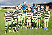 FGR Ambassadors with Forest Green Rovers Jack Fitzwater(16) and Forest Green Rovers Drissa Traoré(4) during the EFL Sky Bet League 2 match between Forest Green Rovers and Accrington Stanley at the New Lawn, Forest Green, United Kingdom on 30 September 2017. Photo by Shane Healey.