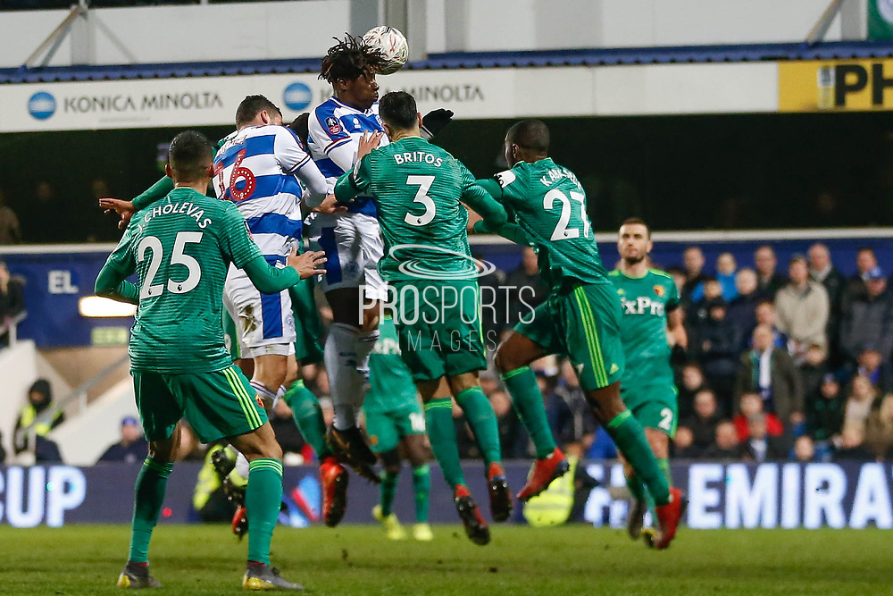 Queens Park Rangers midfielder Eberechi Eze (10) jumps and heads the ball during The FA Cup 5th round match between Queens Park Rangers and Watford at the Loftus Road Stadium, London, England on 15 February 2019.