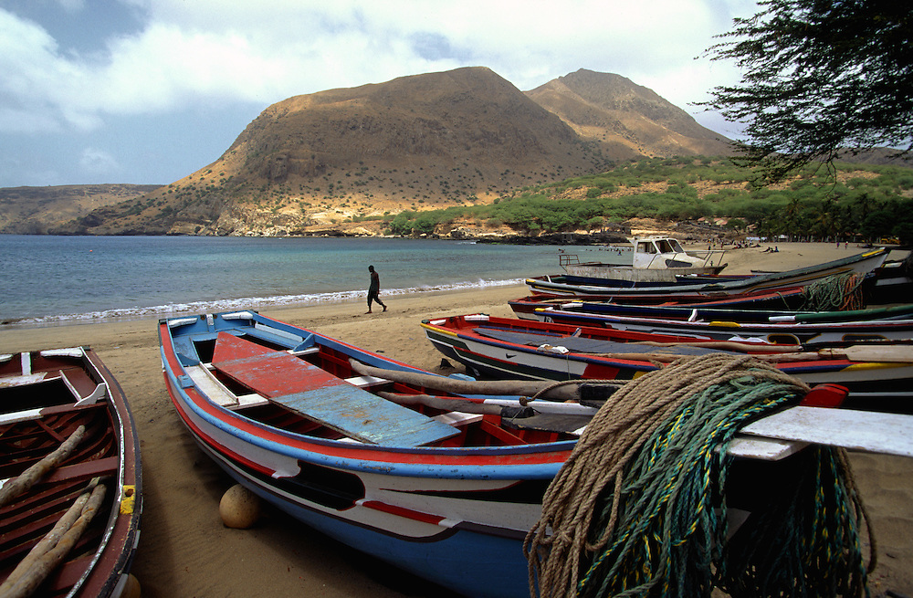 Fishing boats at Tarrafal beach, the most touristical point in Santiago island.