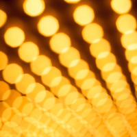 Theater lights - Broadway style theater or casino lights in rows defocused