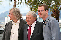 Producer Danny Krausz, Director Claude Lanzmann and producer David Frenkel at the Le Dernier Des Injustes film photocall at the Cannes Film Festival 19th May 2013