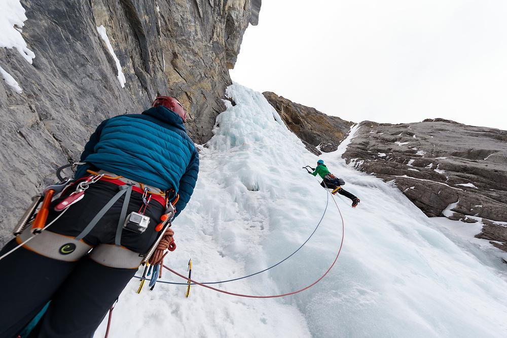 Ryan Richardson Climbing the second pitch of Kitty Hawk, WI5