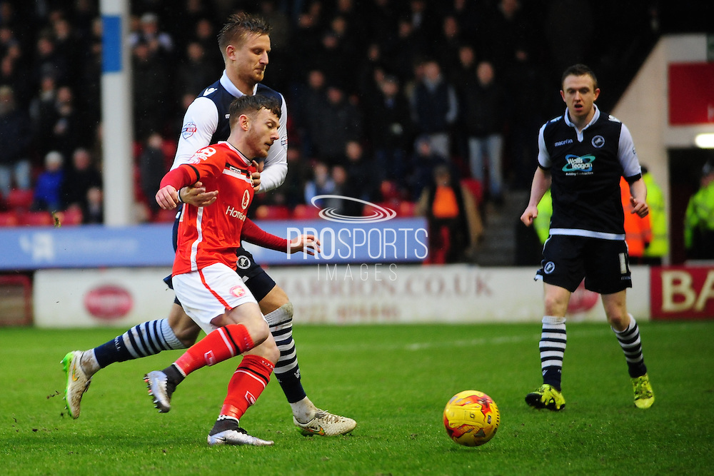 Edward Upson of Millwall FC puts on the pressure during the Sky Bet League 1 match between Walsall and Millwall at the Banks's Stadium, Walsall, England on 6 February 2016. Photo by Mike Sheridan.