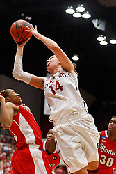 March 21, 2011; Stanford, CA, USA; Stanford Cardinal forward Kayla Pedersen (14) shoots over St. John's Red Storm guard Nadirah McKenith (5) during the second half of the second round of the 2011 NCAA women's basketball tournament at Maples Pavilion. Stanford defeated St. John's 75-49.
