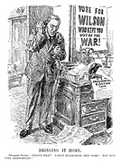 "Bringing It Home. President Wilson. ""What's that? U-boat blockading New York? Tut! Tut! Very inopportune!"""