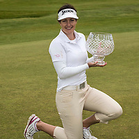 TROON, SCOTLAND - JULY 26 Rebecca Artis of Australia with the trophy after wining the  Aberdeen Asset Management Scottish Ladies Open  at Dundonald Links Golf Course on July 26, 2015 in Troon, Scotland.  (Photo by Christian Cooksey/Getty Images)
