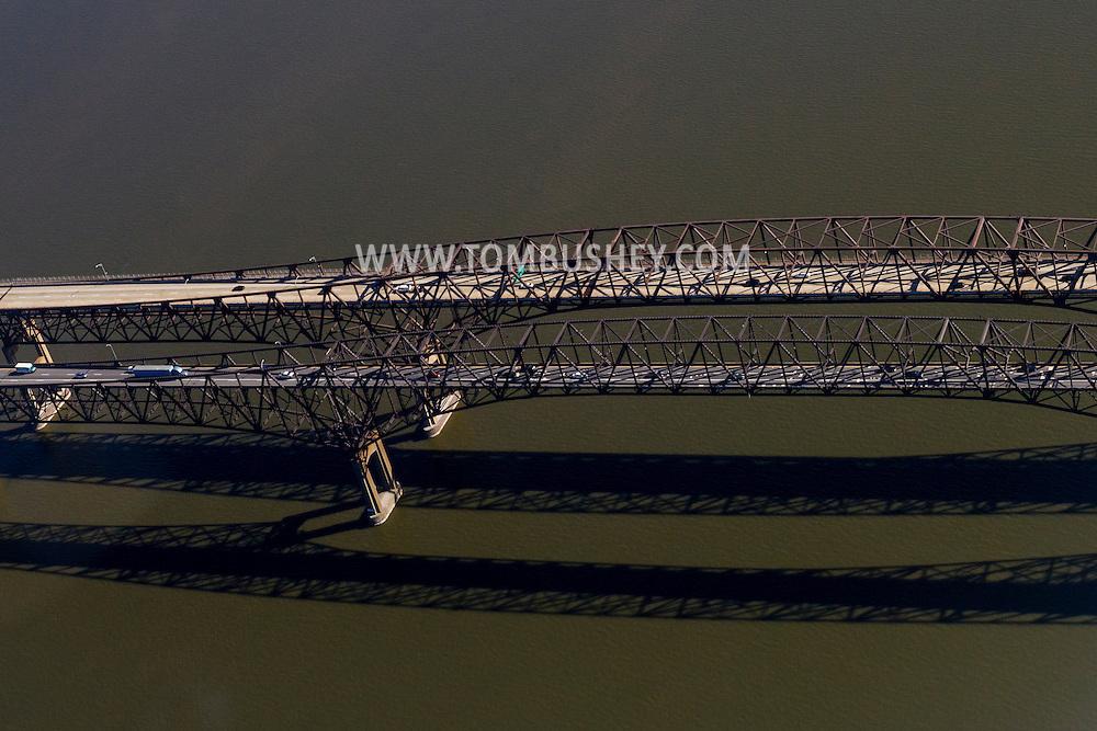 Newburgh, New York - An aerial view of  the Hamilton Fish Newburgh Beacon Bridge on April 20, 2016. The bridge carries Interstate 84 over the Hudson River between Newburgh and Beacon.