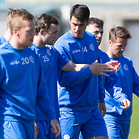 St Johnstone Training...24.04.15<br /> Brian Graham and Chris Kane pictured in training this morning at McDiarmid Park ahead of tomorrow's game at Dundee<br /> Picture by Graeme Hart.<br /> Copyright Perthshire Picture Agency<br /> Tel: 01738 623350  Mobile: 07990 594431