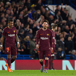 Lionel Messi of Barcelona looks dejected conceding the first goal during the Champions League match between Chelsea and Brcelona at Stamford Bridge, London on Tuesday 20th February 2018.  (C) Steven Morris | SportPix.org.uk
