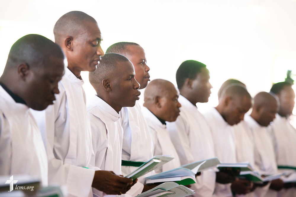 21 new pastoral candidates prepare to be ordained at a service with more than 1,000 worshippers on Sunday, March 15, 2015, at the Evangelical Lutheran Church in Tanzania – South-East of Lake Victoria Diocese's (ELCT-SELVD) Ebenezer Cathedral in Shinyanga, Tanzania. LCMS Communications/Erik M. Lunsford