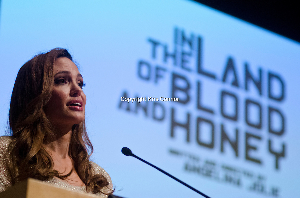 Writer and Director of In The Land of Blood and Honey Angelina Jolie speaks during the film's D.C. Premiere at the United States Holocaust Memorial Museum in Washington DC on January 10, 2012. Photo by Kris Connor for Film District