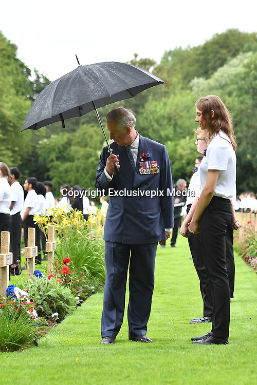 SOMME - FRANCE- 1st July 2016: The 100th anniversary of the Battle of The Somme in northern France.<br /> <br /> Members of the Royal Family including HRH The Prince of Wales and the Duchess of Cornwall with The Duke and Duchess of Cambridge, and Prince Harry attend a Memorial service held at the Thiepval Somme Memorial to mark the 100th Anniversary of the Battle of the Somme which started on the 1st July 1916.<br /> <br /> After the service, The Prince of Wales and the Duchess of Cornwall, accompanied by Prince William, Kate and Prince Harry walked through the gravestones and talked to French and English schoolchildren.<br /> ©Ian Jones/ Exclusivepix Media