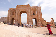 Hadrian's Arch Ruins of the Roman city Gerasa near Jerash, Jordan
