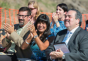 Houston ISD Trustee Diana Davila applauds performers during a groundbreaking ceremony at Wharton PK-8 Dual Language Academy, May 5, 2017.