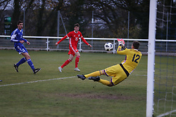 BANGOR, WALES - Tuesday, November 20, 2018: Wales' Jack Vale watches as his shot at goal is saved by  San Marino's goalkeeper Mirko De Angelis during the UEFA Under-19 Championship 2019 Qualifying Group 4 match between Wales and San Marino at the Nantporth Stadium. (Pic by Paul Greenwood/Propaganda)