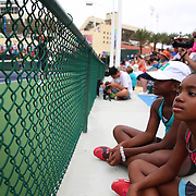 Fans watch players practice at the Indian Wells Tennis Garden in Indian Wells, California Tuesday, March 11, 2015.<br /> (Photo by Billie Weiss/BNP Paribas Open)