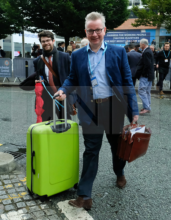 © Licensed to London News Pictures. <br /> 01/10/2017 <br /> Manchester, UK.  <br /> <br /> Secretary of State Michael Gove MP arrives at the Midland Hotel as he attends the Conservative party Conference which will be held over four days in Manchester, England in the Manchester Central Convention Complex.<br /> The conference offered a schedule of speeches, receptions and fringe events giving a chance for party members and the public to learn about party ideas and policies for the year ahead.<br /> <br /> Photo credit: Ian Forsyth/LNP
