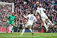Real Madrid's Alvaro Morata and Cristiano Ronaldo and Malaga CF's Idriss Carlos Kameni during La Liga match between Real Madrid and Malaga CF at Santiago Bernabeu Stadium in Madrid, Spain. January 21, 2017. (ALTERPHOTOS/BorjaB.Hojas)