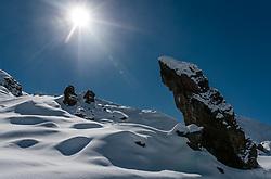THEMENBILD - der Hexenzahn verschneit im Gegenlicht. Die Grossglockner Hochalpenstrasse verbindet die beiden Bundeslaender Salzburg und Kaernten mit einer Laenge von 48 Kilometer und ist als Erlebnisstrasse vorrangig von touristischer Bedeutung, aufgenommen am 2. Mai 2017, Fusch a. d. Glocknerstrasse, Oesterreich // The witch's tooth snowed in the backlight. The Grossglockner High Alpine Road connects the two provinces of Salzburg and Carinthia with a length of 48 km and is as an adventure road priority of tourist interest at Fusch a. d. Glocknerstrasse, Austria on 2017/05/02. EXPA Pictures © 2017, PhotoCredit: EXPA/ JFK
