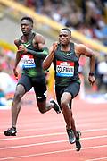 Christian Coleman (USA) defeats Reece Prescod (GBR) to win the 100m, 9.938 to 9.939, during the Grand Prix Birmingham in an IAAF Diamond League meet in Birmingham, United Kingdom, Saturday, Aug. 18, 2018. (Jiro Mochizuki/mage of Sport)
