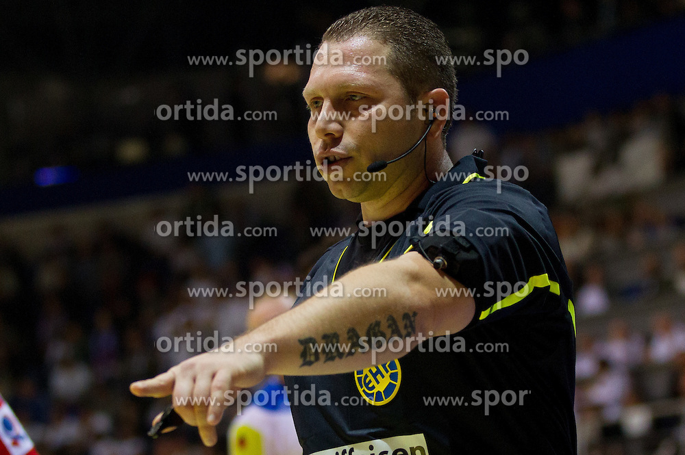 Referee NACHEVSKI Gjorgji (MKD) during handball match between Slovenia and Croatia in  2nd Round of Preliminary Round of 10th EHF European Handball Championship Serbia 2012, on January 18, 2012 in Millennium Center, Vrsac, Serbia. Croatia defeated Slovenia 31-29. (Photo By Vid Ponikvar / Sportida.com)