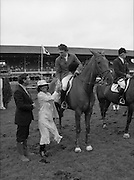 Jameson Whiskey International at the Dublin Horse Show.  (R39).1986..07.08.1986..08.07.1986..7th August 1986..The Jameson Whiskey International at the Dublin Horse Show in the RDS was won by Peter Charles of Great Britain. He rode 'Merrimandias' to victory in the event...Picture shows Mrs Marie Cummins, wife of the Managing Director,Irish Distillers presenting the trophy to Peter Charles on 'Merrimandias'. Mr Michael Cummins also features in the picture. Jameson's, Irish, Whiskey, jameson,