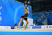 Mickova Monika of Czech Republic competes during the rhythmic gymnastics individual hoop qualification of the World Cup at Adriatic Arena on April 1, 2016 in Pesaro, Italy.<br /> Monika was born in Brno in Czech Republic in 1991.