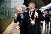 Sculptor Vincent Browne  & Ciaran Byrne Mayor of Fingal at the launch of The Tree of Life for Fingal County Council. Blanchardstown Civic Centre, Dublin, November 2009.