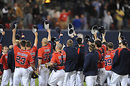 Mississippi players following the win vs. Florida at Oxford-University Stadium on Friday, March 26, 2010 in Oxford, Miss. Ole Miss won 3-2.
