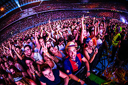 June 20, 2018 - Milan, Italy, Italy - People attend Italian singer Cesare Cremonini performs on stage at Stadio San Siro on June 20, 2018 in Milan, Italy. (Credit Image: © Mairo Cinquetti/NurPhoto via ZUMA Press)