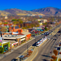 400 South and UTA Trax appears as a toy set in this tilt shift photograph, Salt Lake City, Utah