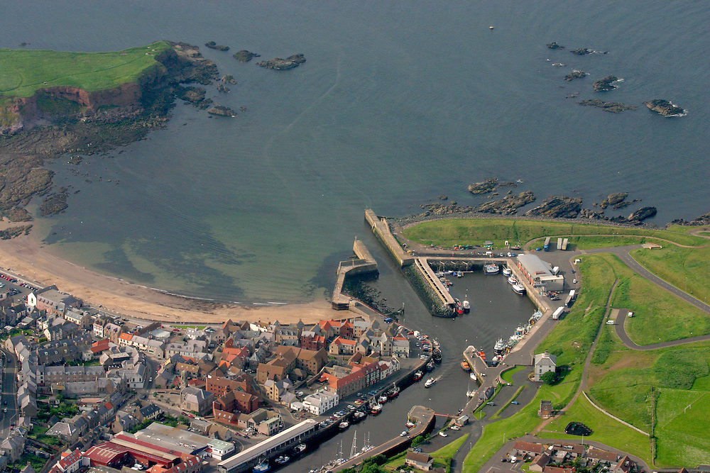 Aerial view of the fishing port of Eyemouth, Scottish Border country