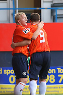 Picture by David Horn/Focus Images Ltd +44 7545 970036<br /> 23/07/2013<br /> Mark Cullen of Luton Town Congratulates Jon Shaw of Luton Town after scoring the opening goal during the Pre Season Friendly match at Kenilworth Road, Luton.