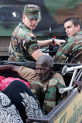 31st August, 2005. New Orleans Louisiana. <br /> Hurricane Katrina aftermath. 'Hell on earth.' An elderly man is evacuated from the Superdome in New Orleans, Louisiana where over 20,000 refugees from hurricane Katrina are crammed into hellish conditions.<br /> Photo credit; Charlie Varley/varleypix.com