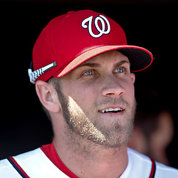 Mar 8, 2013; Melbourne, FL, USA;Washington Nationals center fielder Bryce Harper (34) before a spring training game against the St. Louis Cardinals at Space Coast Stadium. Mandatory Credit: Derick E. Hingle-USA TODAY Sports