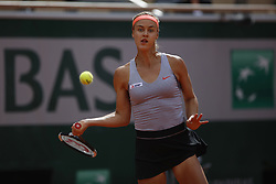 May 28, 2019 - Paris, France - Anna Karolina Schmiedlova of Slovakia plays against Naomi Osaka of Japan their first round match during the French Open tennis tournament at Roland Garros in Paris, France on May 28, 2019. (Photo by Mehdi Taamallah) (Credit Image: © Mehdi Taamallah/NurPhoto via ZUMA Press)