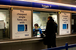 Ticket Office Job Cuts. Underground ticket station at King's Cross. London Underground will run weekend services 24 hours under plans that also involve ticket office closures and up to 750 job cuts.King's Cross Station, London, United Kingdom. Thursday, 21st November 2013. Picture by Peter Kollanyi / i-Images