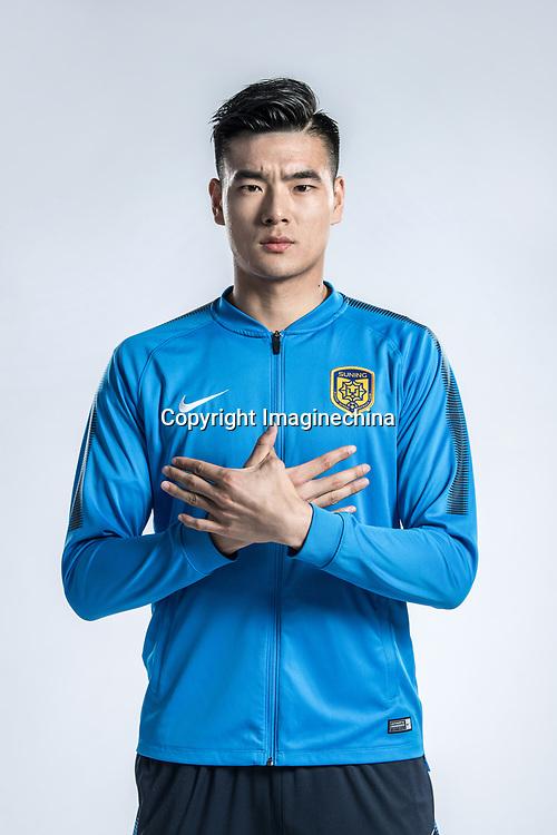 **EXCLUSIVE**Portrait of Chinese soccer player Li Haitao of Jiangsu Suning F.C. for the 2018 Chinese Football Association Super League, in Nanjing city, east China's Jiangsu province, 23 February 2018.