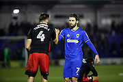 AFC Wimbledon defender George Francomb (7) shaking hands with Coventry City defender Jordan Turnball (4) during the EFL Sky Bet League 1 match between AFC Wimbledon and Coventry City at the Cherry Red Records Stadium, Kingston, England on 14 February 2017. Photo by Matthew Redman.