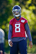 Marcus Mariota QB (8) during the Tennessee Titans pre-match press conference at Syon House, Brentford, United Kingdom on 19 October 2018.