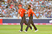 Wicket - Adil Rashid of England celebrates taking the wicket of Marcus Stoinis of Australia with Eoin Morgan of England during the International T20 match between England and Australia at Edgbaston, Birmingham, United Kingdom on 27 June 2018. Picture by Graham Hunt.
