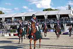 Team FRA Penelope Leprevost, Patrice Delaveaux, Eugenie Angot, De Ponnat Aymeric, Delestre Simon<br /> Furusiyya FEI Nations Cup Jumping Final <br /> CSIO Barcelona 2013<br /> © Dirk Caremans