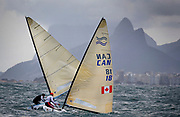 Finn sailor Tom Ramshaw from Canada sails during a practice race in Guanabara Bay in Rio de Janeiro, Brazil, 03 August 2016. Sailing events at 2016 Olympic Games start on 08 August.